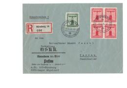 Beleg Brief DR Deutsches Reich - O 1938 - NSKK Motorsturm 16 / M 80- Passau - O Nürnberg - Einschreiben - 4er Block ! - Briefe U. Dokumente