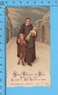 Die Cut   -St-Vincent De Paul Protegant Deux Enfants  -   Holy Card, Santini, Image Pieuse - Images Religieuses