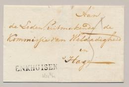 Nederland - 1824 - EO-omslag Met Zwart Langstempel ENKHUISEN Naar Den Haag - Nederland