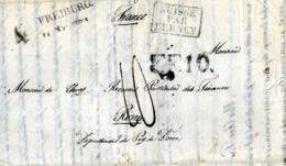 LETTRE-MARQUE POSTALE Précurseur XIXe - FREIBURG (Suisse) Par FERNEY) < RIOM - NOVEMBRE 1829 - 1801-1848: Voorlopers XIX