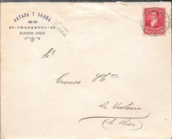 SOBRE COMERCIAL CIRCULADO DE ARTAZA Y ORBEA BUENOS AIRES AÑO 1897 A CUNEO HERMANOS VICTORIA ENTRE RIOS ARGENTINA - Cartas