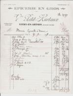 Epicerie En Gros Vve Petit Hurtaux Vitry En Artois à M. Mercier Coquelle à Ecourt. 1937. - Francia