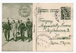 1957 YUGOSLAVIA, SERBIA, BELGRADE TO NIKSIC, AEROPLANES, PILOTS, ARMY, ILLUSTRATED STATIONERY CARD, USED - Entiers Postaux