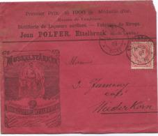 Brief - Mi 71 - Jean Polfer, Liqueurs Et Sirops, Ettelbruck 18-06-1903 Nach Niederkorn (Stempel Differdange) - 1895 Adolphe Profil