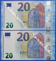 ITALY 2 X 20 EURO S 2015 S004 E6 And  S007 A3 (DIFFERENT CUTTING) - DRAGHI - EURO