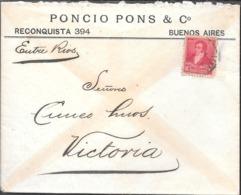 PONCIO PONS & CIA. LE ENVIA ESTE SOBRE COMERCIAL EN 1897 A CUNEO HERMANOS VICTORIA ENTRE RIOS ARGENTINA - Cartas
