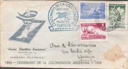 CENTENARIO DE COLONIA ESPERANZA 1856 - 1956 PRIMERA COLONIA AGRICOLA ARGENTINA INMIGRANTES FRANCIA SABOYA BELGICA LUXEMB - Cartas