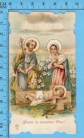 Die Cut   -La Sainte Fmille, Jesus Couché Sur Une Croix,couronne Epines+ Clous -   Holy Card, Santini, Image Pieuse - Images Religieuses
