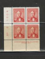 "CANADA 1952 ""P. MINISTER - Alex. Mackenzie"" #319, P.B.#2 MNH - Plate Number & Inscriptions"