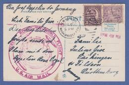 USA Zeppelin-Postkarte ROUND-THE-WORLD-FLIGHT 1929 Gel. Nach Deutschland - Vereinigte Staaten