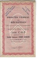 Procès Verbalde Réception De Voitures Automobiles Type C-6-F  CITROEN - Automobilismo