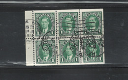"- CANADA 1937 K.GEORGE VI ""MUFTI ISSUE"" #231b (Bk.#26) Bklt.PANE C.V.$28.00 USED - Full Panes"