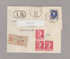 1955 Recommandé LE PIN LA GARENNE (Orne) Sur YT 1004 Et YT 1011 + Cachet Hexagonal  Perlé BELLAVILLIERS (Orne) - 1921-1960: Moderne