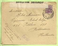 140 Op Brief PMB 4-> Rotterdam (Holland) Strookje CENSURE MILITAIRE 26 + CENSUUR + C.F.(Folkestone) (B2125) - Army: Belgium