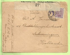 140 Op Brief PMB 2-> Scheveningen (Holland) Strookje CENSURE MILITAIRE 27 + CENSUUR + C.F.(Folkestone) (B5375) - Army: Belgium