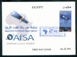 EGYPT / 2019 / AFSA / SPACE / SATELLITE / MAP / AFRICA / ANIMALS / ELEPHANT / GIRAFFE / LION / FOREST/ FDC - Briefe U. Dokumente