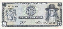 PEROU 50 SOLES DE ORO 1969 AUNC P 101 A - Perú