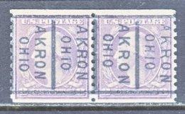 U.S. 493 X 2     Perf.  10   (o)  OHIO   LOC-CTC  1917   Issue No Wmk. - Precancels