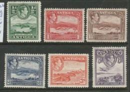 Antigua, GVIR, 1933 - 1951 1/2d - 6d (excluding 2d) MH * - Antigua & Barbuda (...-1981)