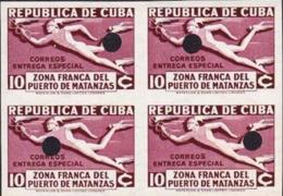 CUBA 1936 Greek Mythology Hermes Tax Free Zone 10c PROOFS:4-BLOCK - Mythologie