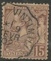Monaco, 1902, 15c, Good Used, - Monaco