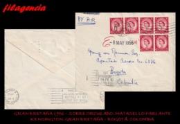 EUROPA. GRAN BRETAÑA. ENTEROS POSTALES. SOBRE CIRCULADO 1956. KENSINGTON. GRAN BRETAÑA-BOGOTÁ. COLOMBIA. MARCA PARLANTE - 1952-.... (Elizabeth II)