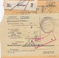 BiZone Paketkarte 1948: Nördlingen N. Wassertrüdingen, Nachgebühr, Rücksendung - Zone AAS