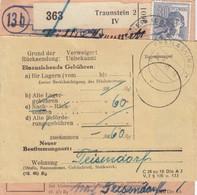 Paketkarte 1948: Traunstein N. Freilassing, Teisendorf Dringend, Nachsendung - Gemeinschaftsausgaben