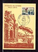 """FRANCE 1955  """" JDT 1955 / BALLON POSTE / 85 ANS DE LA POSTE AERIENNE """" Sur Carte Maximum. N° YT 1018. Parfait état. CM - Fesselballons"""