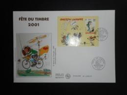 """FDC Grand Format - Bloc Fête Du Timbre 2001 """"Gaston Lagaffe"""", Oblitération 24/2/2001 - FDC"""