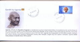 UGANDA 2019 New Stamp Issue GANDHI Birth Anniversary Private FDC First Day Of Issue Cover OUGANDA #3 - Oeganda (1962-...)