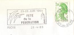 France, Flamme Fête De La Fédération, Riom, Oiseau De Folon - Franz. Revolution