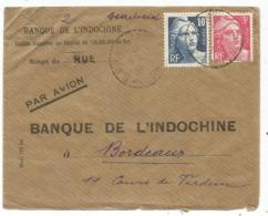 GANDON 10FR+3FR LETTRE AVION HUE INDOCHINE BPM418 1946 POUR BORDEAUX - 1921-1960: Période Moderne