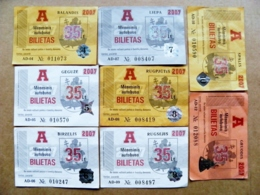 8 Transport Tickets Vilnius City Capital Of Lithuania BUS Monthly Ticket 2007 35lt. - Wochen- U. Monatsausweise