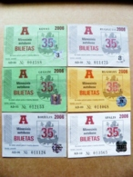 6 Transport Tickets Vilnius City Capital Of Lithuania BUS Monthly Ticket 2006 35lt. - Wochen- U. Monatsausweise