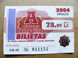 Transport Ticket Vilnius City Capital Of Lithuania BUS Monthly Ticket 2004 28lt. October - Europe
