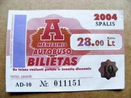 Transport Ticket Vilnius City Capital Of Lithuania BUS Monthly Ticket 2004 28lt. October - Season Ticket