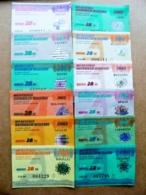 12 Transport Tickets Vilnius City Capital Of Lithuania BUS Monthly Ticket 2002 28lt. Complecte Full Year - Week-en Maandabonnementen