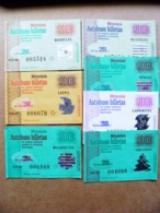 7 Transport Tickets Vilnius City Capital Of Lithuania BUS Monthly Ticket 2001 28lt. - Wochen- U. Monatsausweise