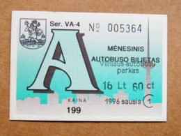 Transport Ticket Vilnius City Capital Of Lithuania BUS Monthly Ticket 1996 Year January 16,6lt - Season Ticket