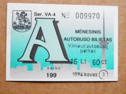 Transport Ticket Vilnius City Capital Of Lithuania BUS Monthly Ticket 1996 Year March 16,6lt - Season Ticket