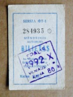 Transport Ticket Vilnius City Capital Of Lithuania BUS Monthly Ticket 1992 Year October 80r. - Europe