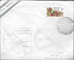 FIRST AIR MAIL FROM THE TEMPORARY AERODROME FALKLAND ISLANDS MALVINAS MALOUINES YEAR 1972 CIRCULEE TO S. BORTEN BUENOS A - Islas Malvinas