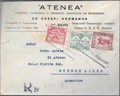LIBRERIA PAPELERIA E IMPRENTA DE CRESPI HERMANOS LA PAZ BOLIVIA 1941 SOBRE CIRCULADO A PEDRO GARCIA EL ATENEO BUENOS AIR - Bolivia