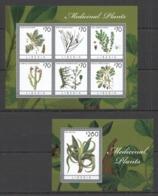 X035 2013 LIBERIA FLORA MEDICINAL PLANTS #6253-58 MICHEL 20,5 EURO BL+KB MNH - Heilpflanzen