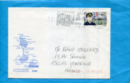Marcophilie-Saint Pierre Et Miquelon-lettre Avion- Cad 1993  + Flamme Renaissance De L'ile- Stamp N°570-Ct Berot - St.Pierre Et Miquelon