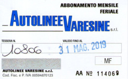 B 2810 - Trasporti, Varese, Autolinee Varesine, Abbonamento - Season Ticket