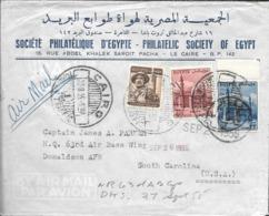 SOCIETE PHILATELIQUE D'EGYPTE - PHILATELIC SOCIETY OF EGYPT ENVELOPPE CIRCULEE 1955 LE CAIRE A DONALDSON SOUTH CAROLINA - Egipto
