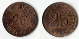 N93-0607 - Monnaie De Nécessité - Clergoux - Dépôt De Prisonniers De Sédières - 25 Centimes - Monétaires / De Nécessité