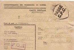 PRISONNIER DE GUERRE 40 45 ALLEMAND EN BELGIQUE  Camp FO II VERS BERLIN  CENSURE PASSE C.P.C. - Militaria